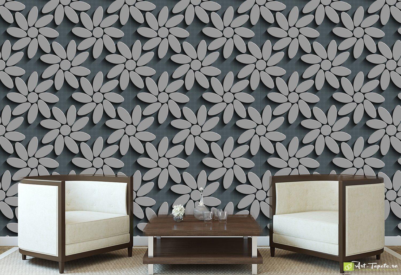 Wallpaper 3D Effect Flowers On A Dark Background