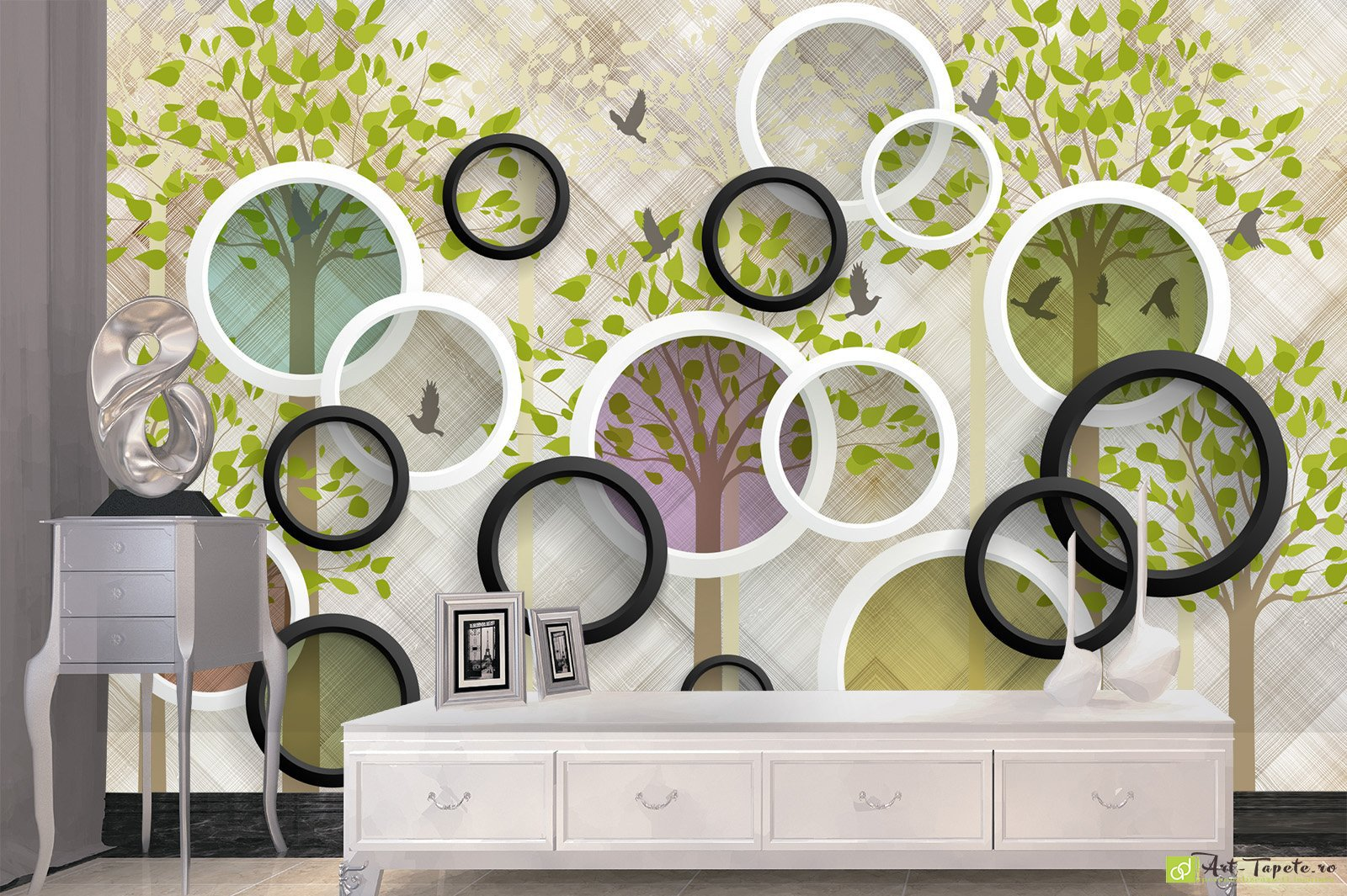 Photo Wallpaper 3d Effect Circles And Nature Fototapet Art Check Out Our Stunning Photo Wallpaper Options For A Quality Wall Mural Buy Online