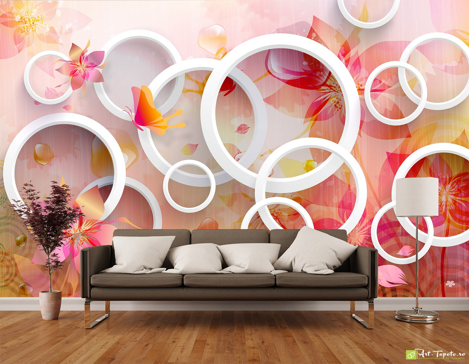 Photo Wallpaper 3d Effect Circles With Abstract Flowers
