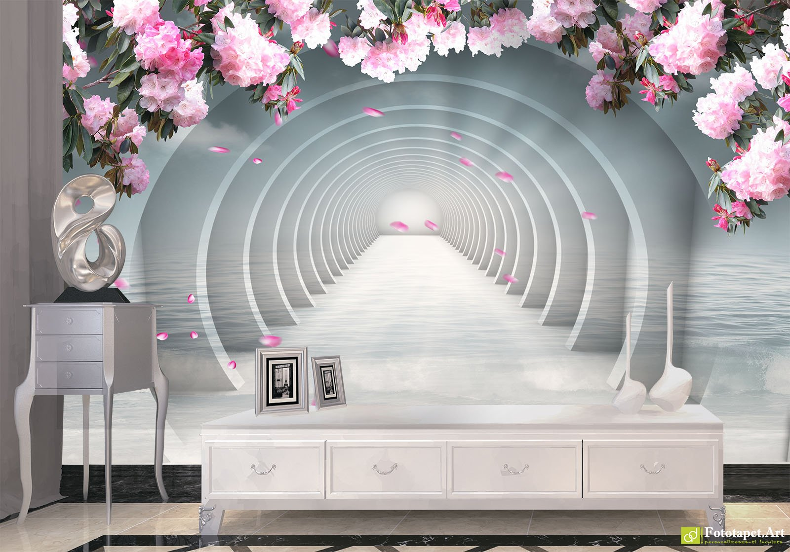 Wallpaper 3D Effect Tunnel With Flowers 4