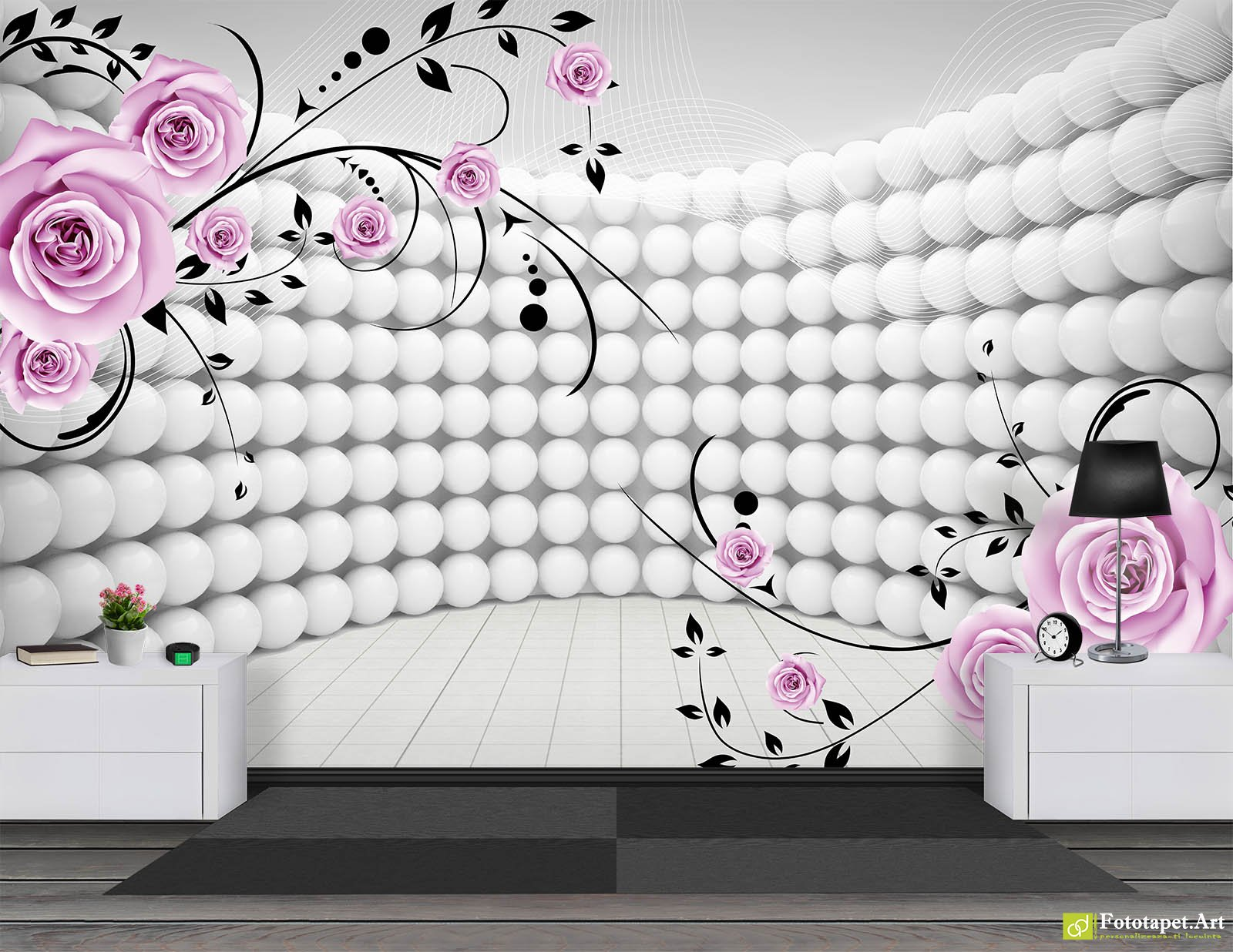 Wallpaper 3D Effect 3D Balls In Perspective And