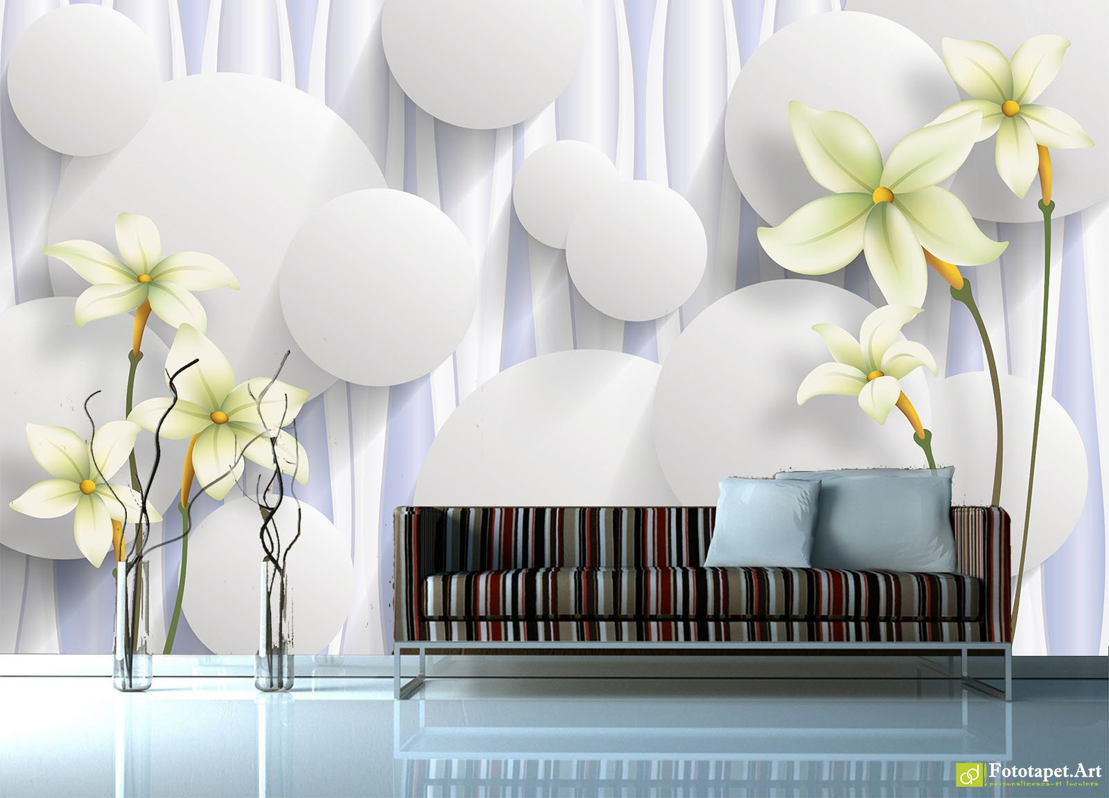 Wallpaper 3D Effect Circles And Flowers On A Light