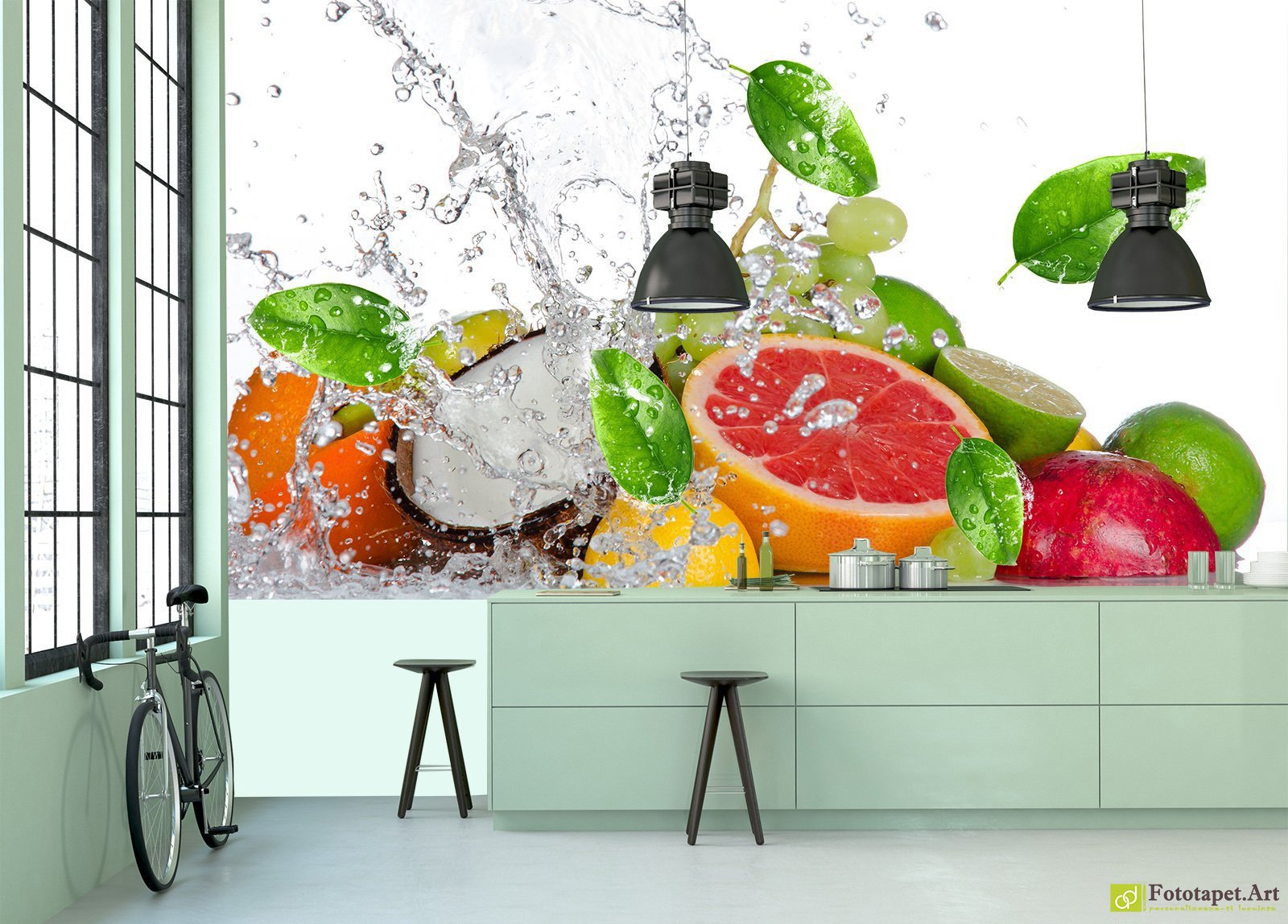 Kitchen Wallpaper Wall Murals Fruit Under Water Fototapet Art Guaranteed For 5 Years Printed Using The Latest Hp Latex Printing Technology This Wall Mural Is Easy To Fit Eco Friendly Non Toxic