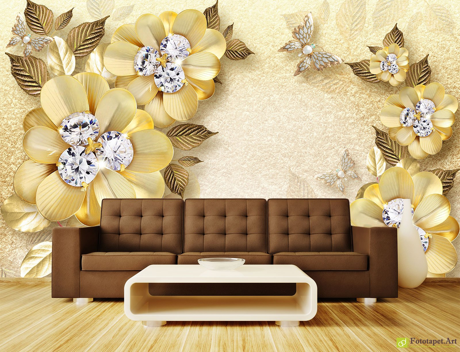 Photo Wallpaper 3D Effect - Flowers made of diamonds and yellow ...