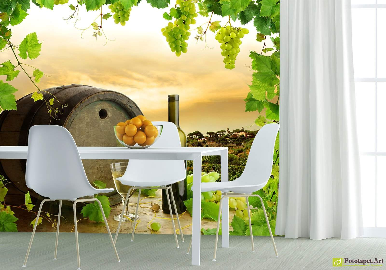A Barrel Of Wine And A Vineyard Wall Mural Made To Order