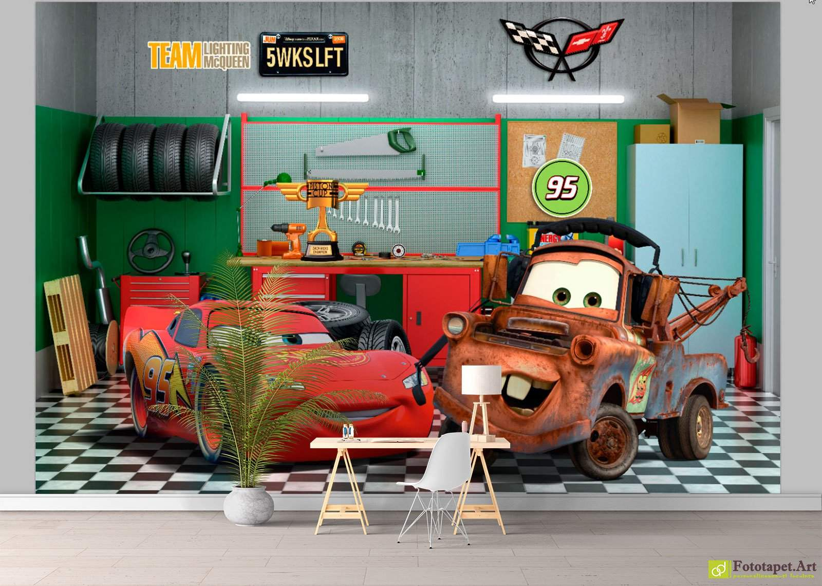 Disney Cars In The Garage Wall Mural Made To Order In The Europe