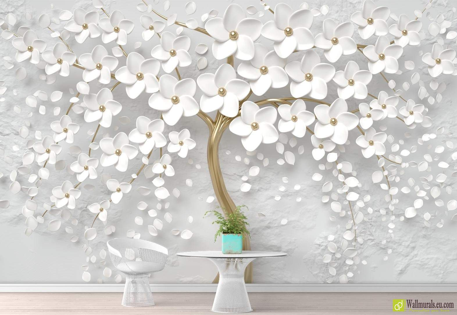 Albero Con Fiori Bianchi albero e fiori bianchi con effetto 3d| wallmurals.eu