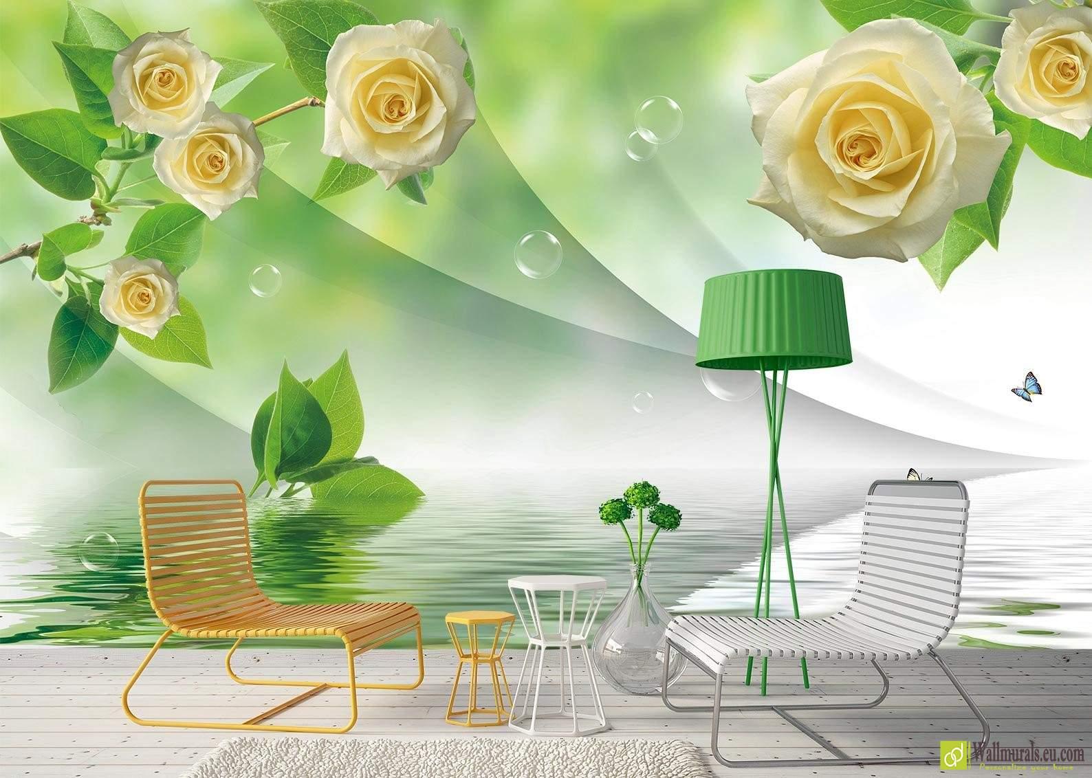 Fiori Gialli E Sfondo Verde Wallmuralseucom Carta Da Parati